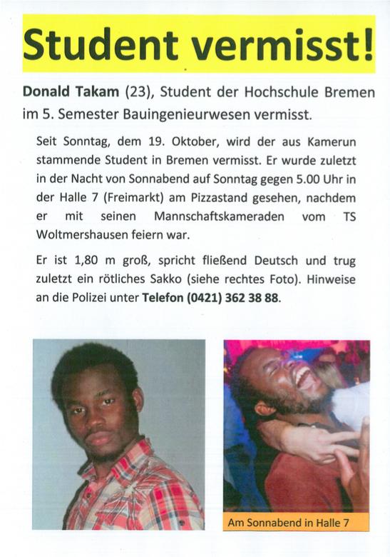 Flugblatt Student gesucht